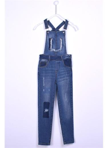Silversun Kids Açık Denim Kot Tulum Denım Yamalı Salopet Kız Çocuk Ct 310266 Mavi